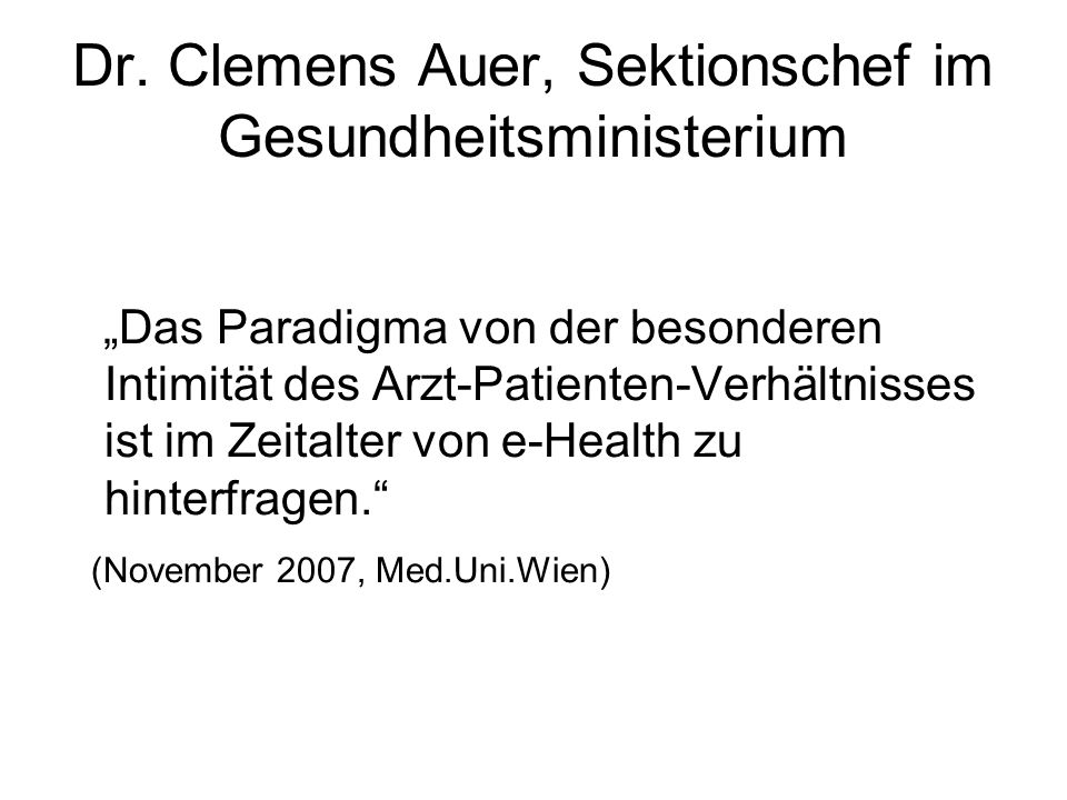 Dr. Clemens Auer, Sektionschef im Gesundheitsministerium