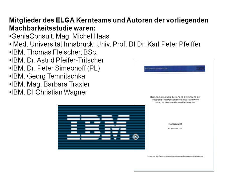 Mitglieder des ELGA Kernteams und Autoren der vorliegenden