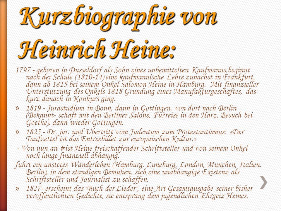 Kurzbiographie von Heinrich Heine: