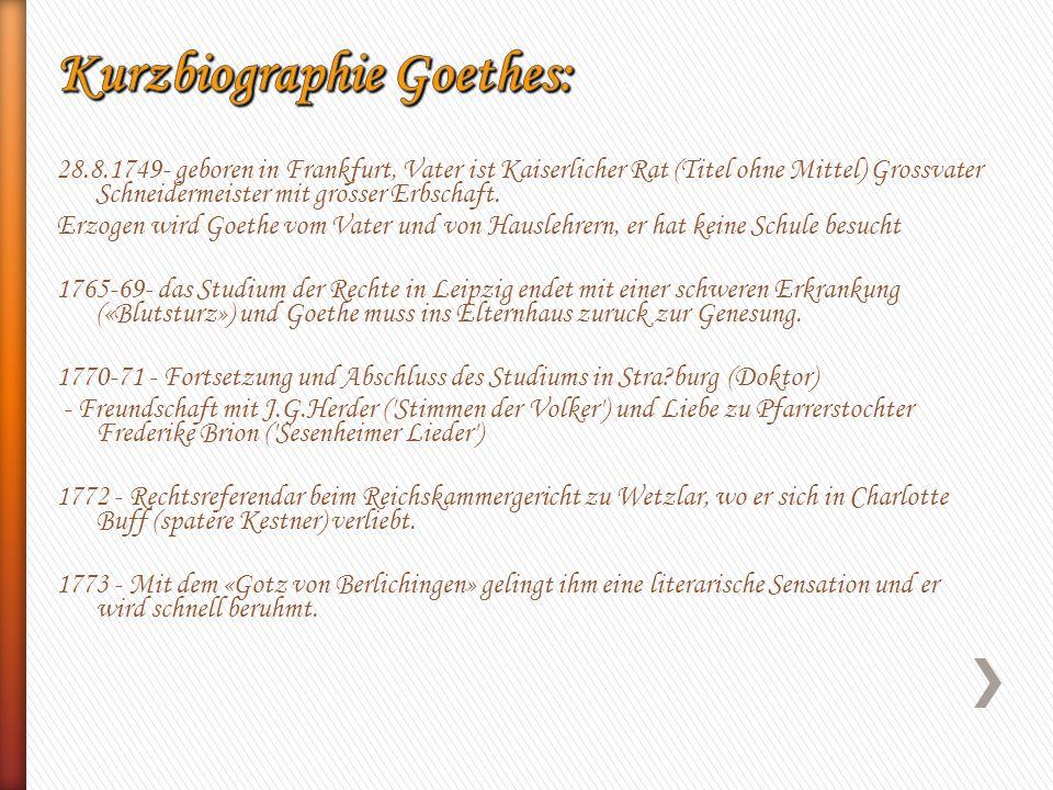 Kurzbiographie Goethes: