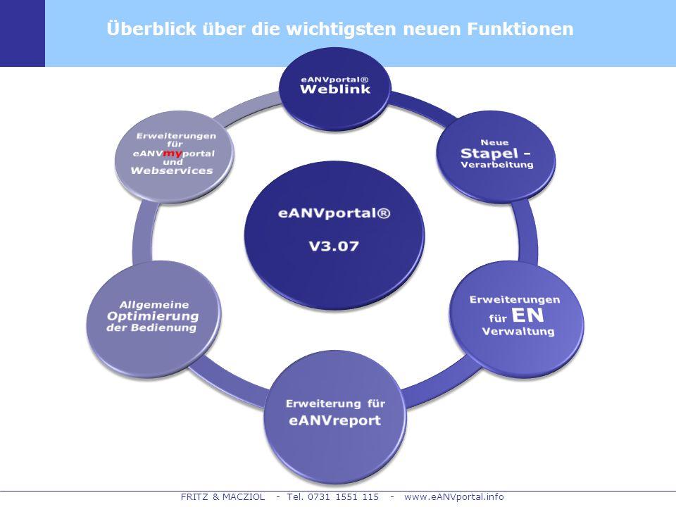 eANVportal® V3.07 Überblick über die wichtigsten neuen Funktionen
