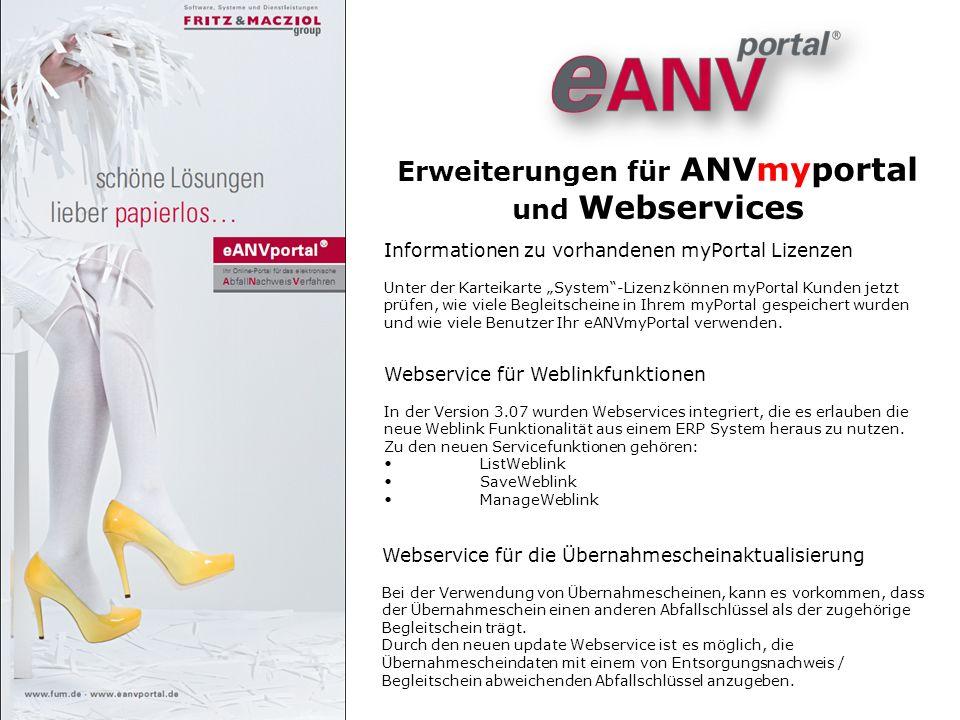 Erweiterungen für ANVmyportal und Webservices