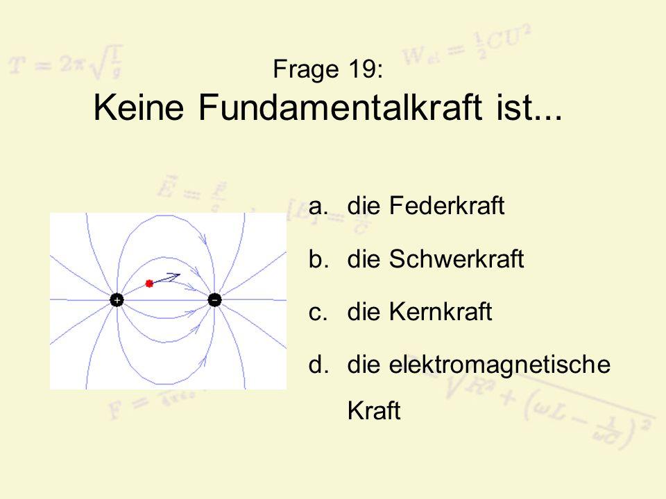 Frage 19: Keine Fundamentalkraft ist...