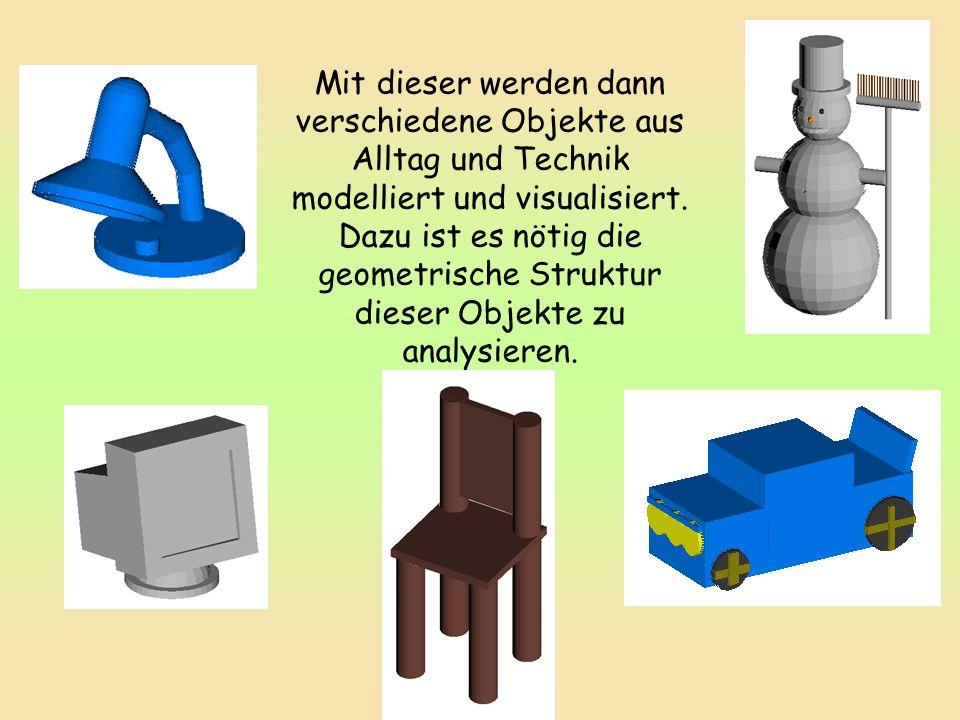 Mit dieser werden dann verschiedene Objekte aus Alltag und Technik modelliert und visualisiert.