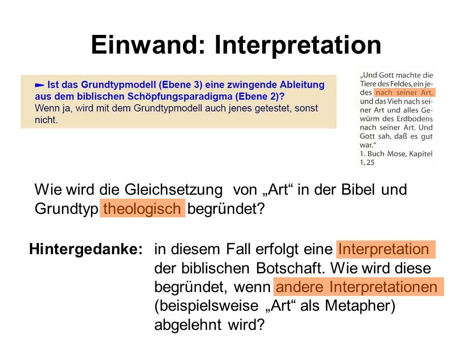 Einwand: Interpretation