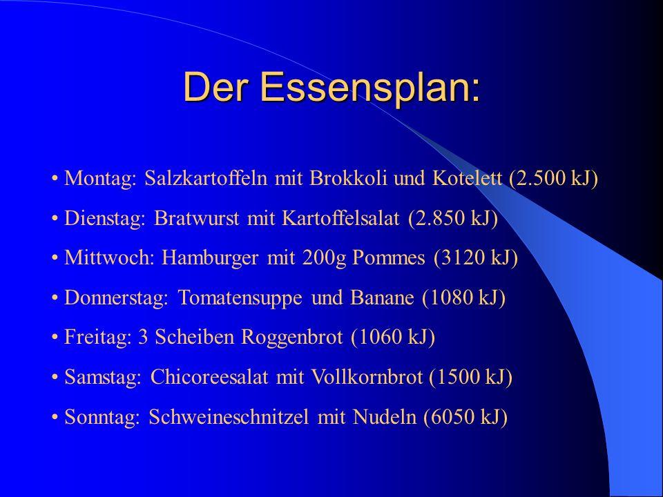 Der Essensplan: Montag: Salzkartoffeln mit Brokkoli und Kotelett (2.500 kJ) Dienstag: Bratwurst mit Kartoffelsalat (2.850 kJ)