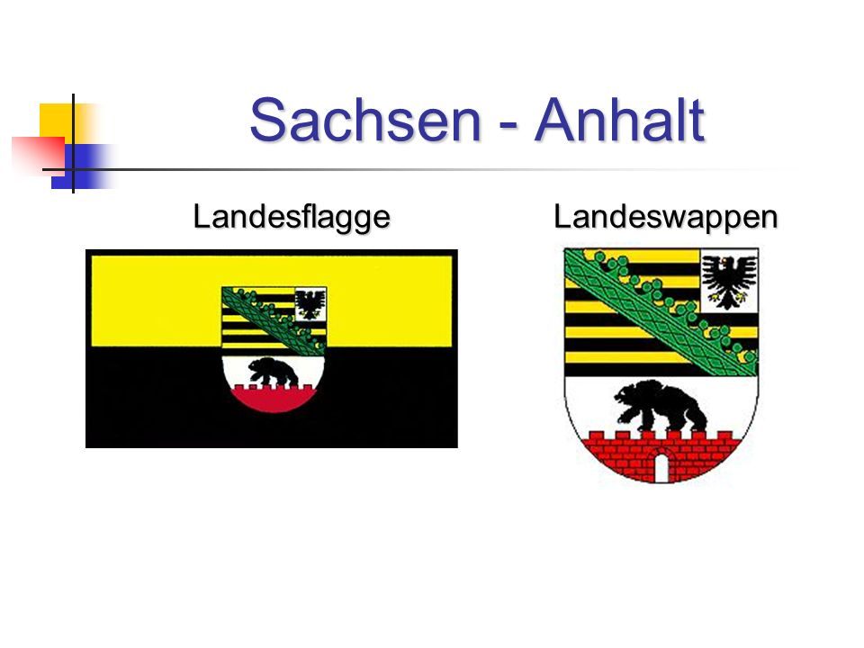 Sachsen - Anhalt Landesflagge Landeswappen