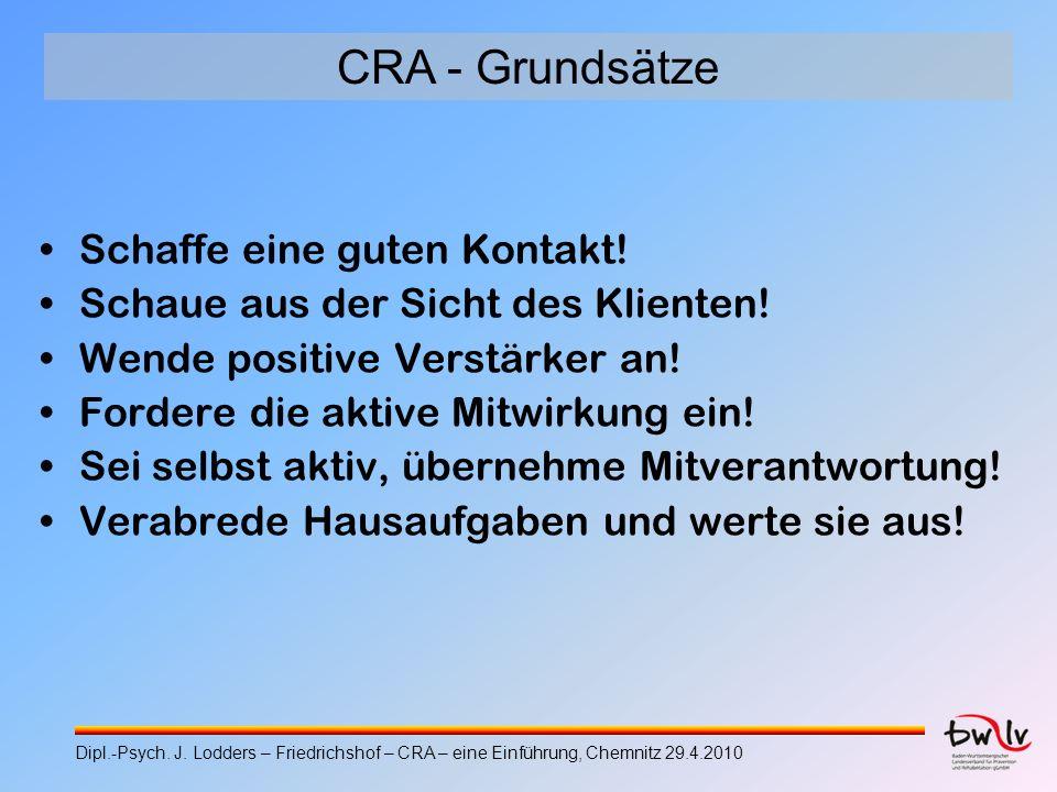 CRA - Grundsätze Schaffe eine guten Kontakt!