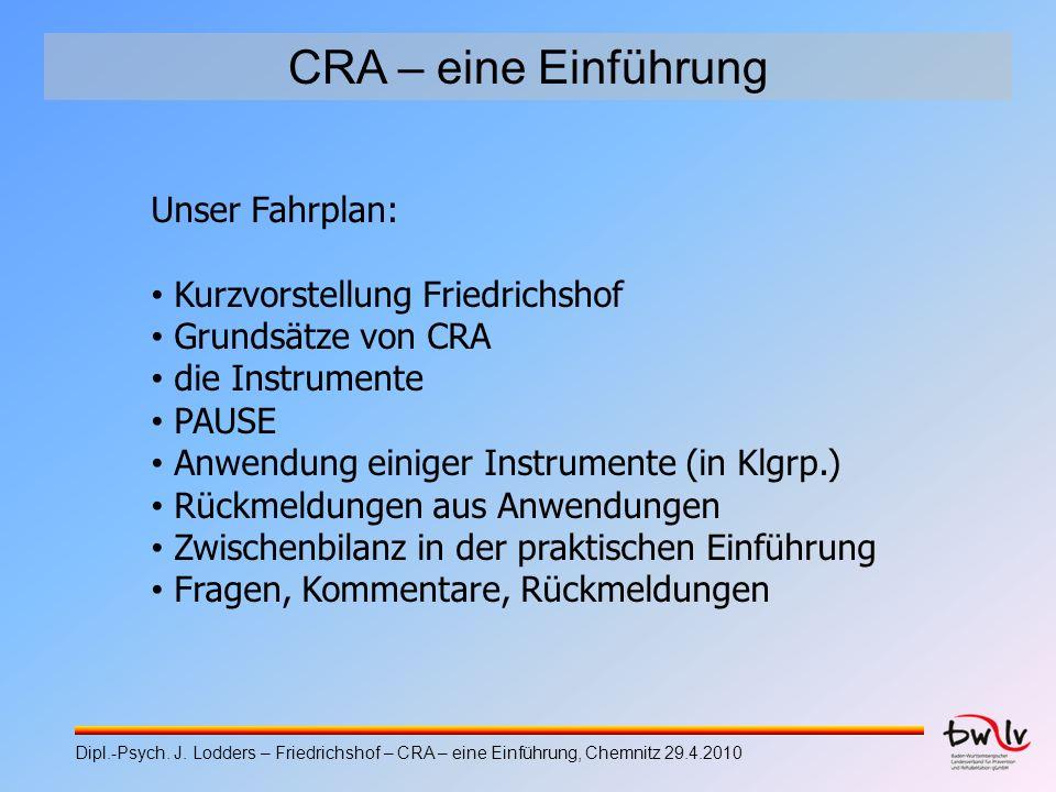 CRA – eine Einführung Unser Fahrplan: Kurzvorstellung Friedrichshof