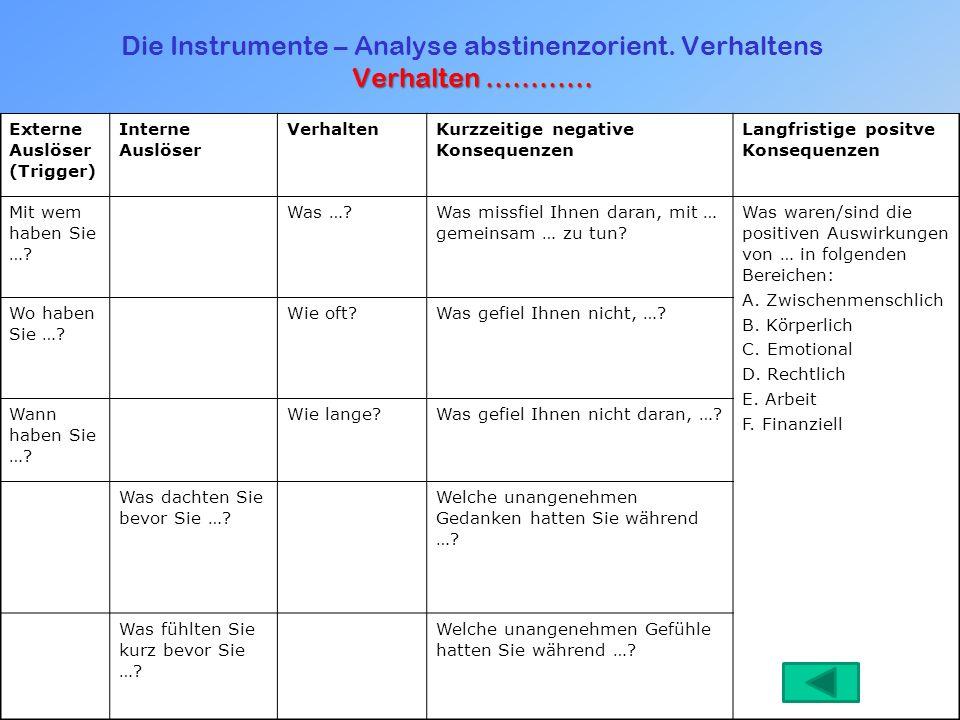 Die Instrumente – Analyse abstinenzorient. Verhaltens Verhalten …………