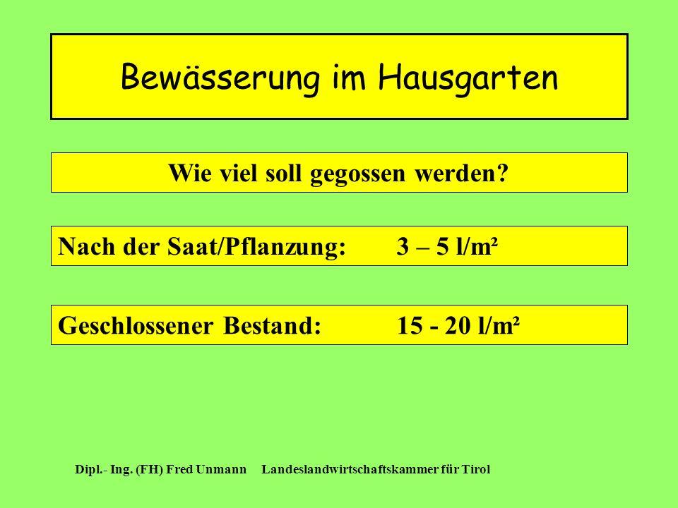 Bewässerung im Hausgarten