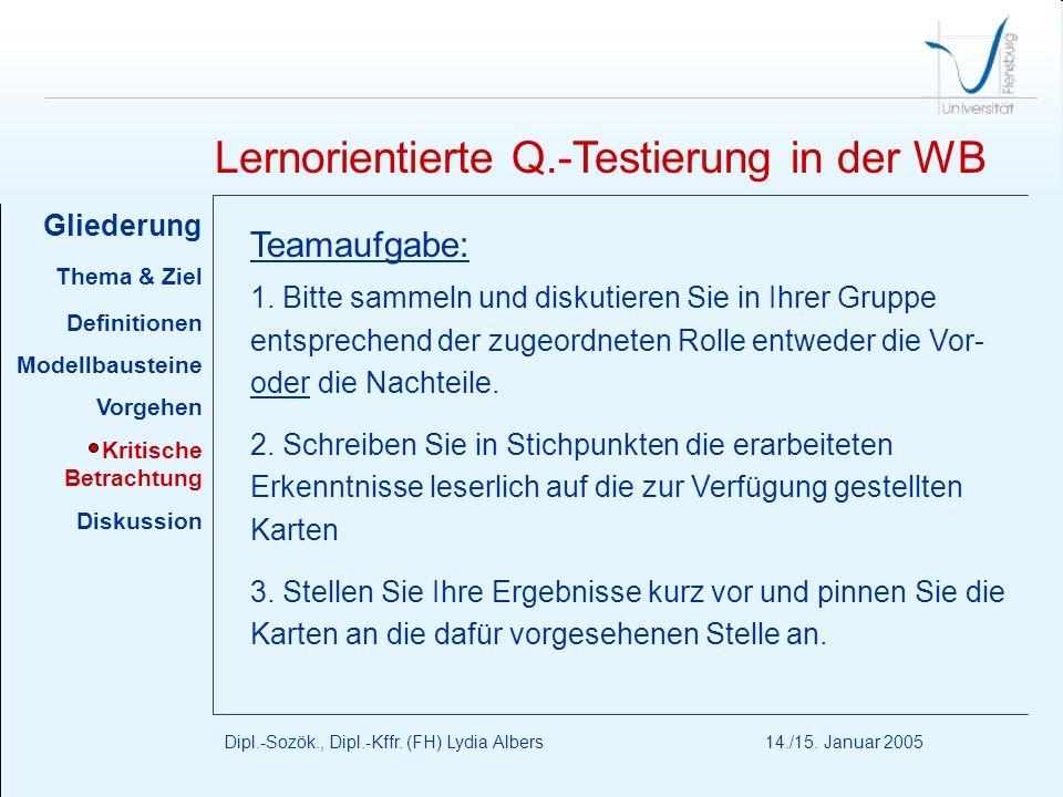 Lernorientierte Q.-Testierung in der WB