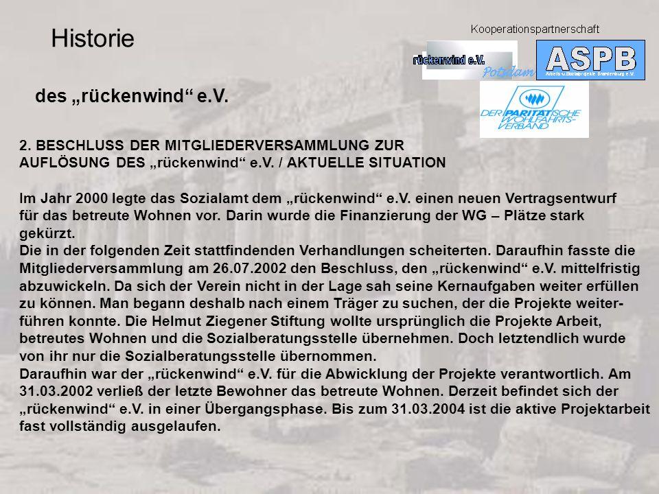 "Historie des ""rückenwind e.V."