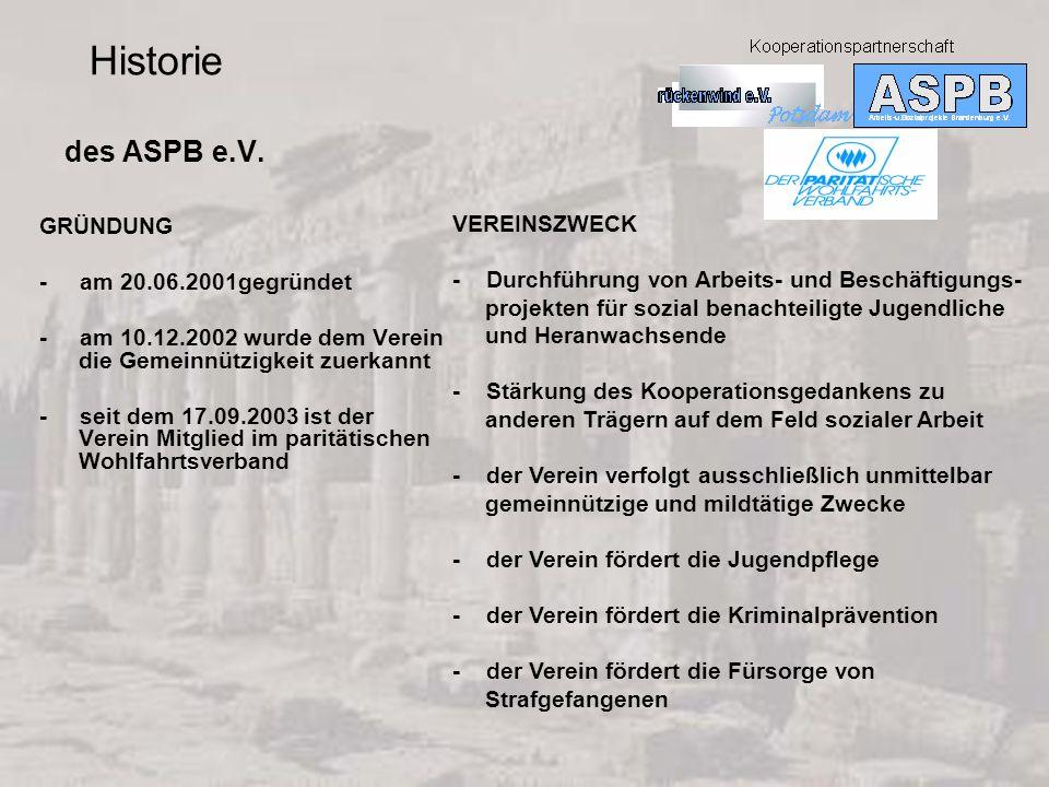 Historie des ASPB e.V. VEREINSZWECK GRÜNDUNG