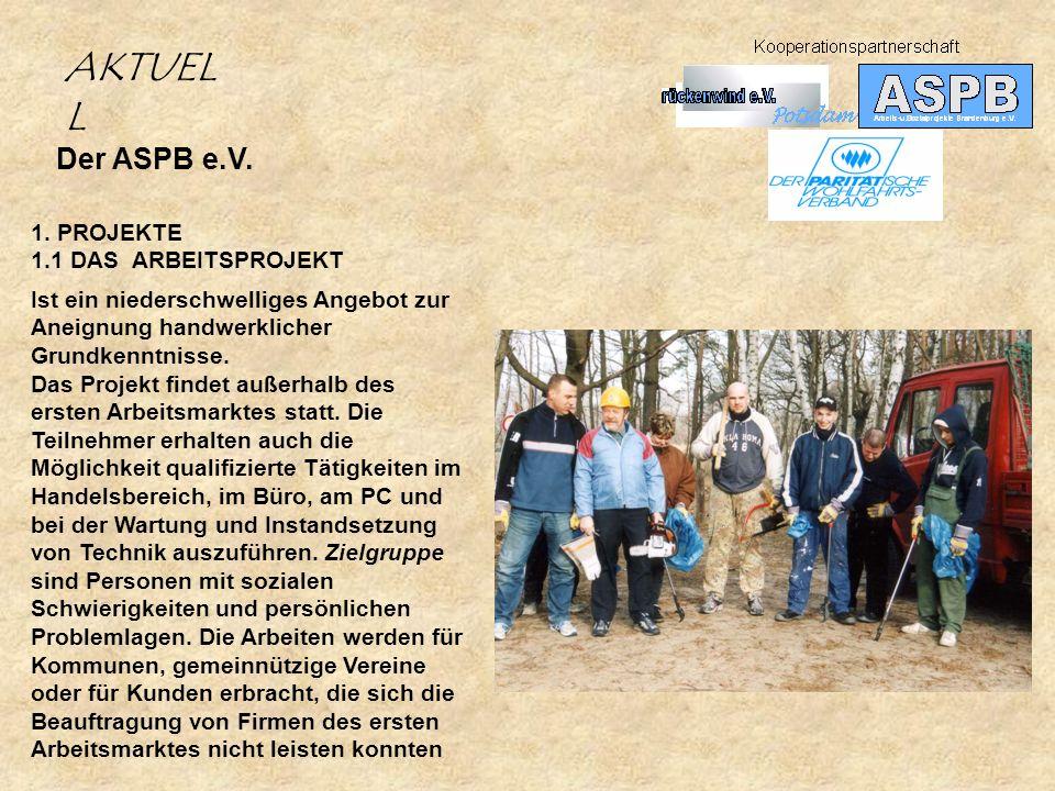 AKTUELL Der ASPB e.V. 1. PROJEKTE 1.1 DAS ARBEITSPROJEKT