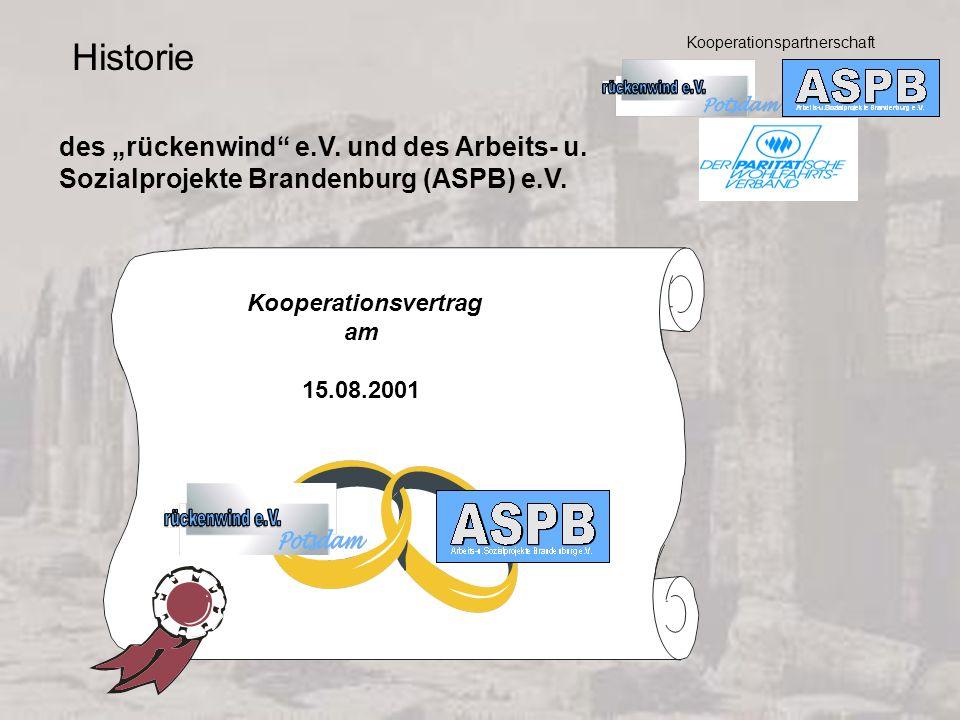 """Historie des """"rückenwind e.V. und des Arbeits- u."""