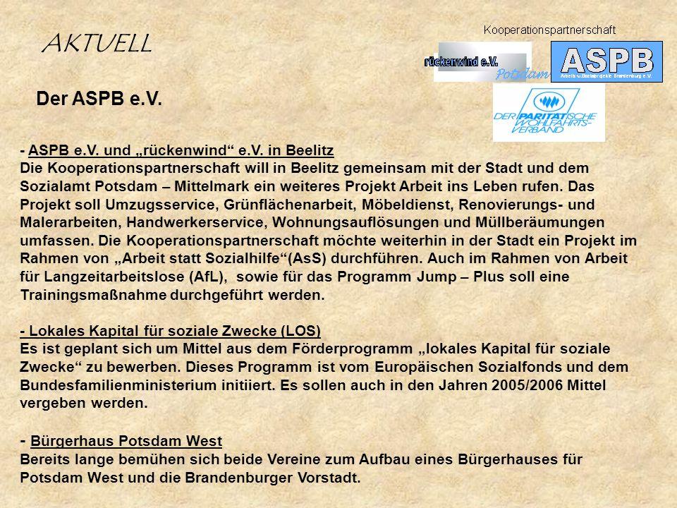 AKTUELL Der ASPB e.V. - Bürgerhaus Potsdam West