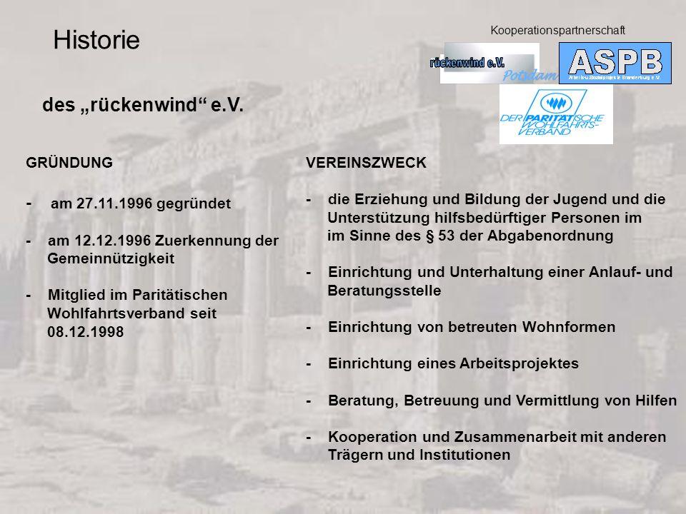 """Historie des """"rückenwind e.V. - am 27.11.1996 gegründet GRÜNDUNG"""