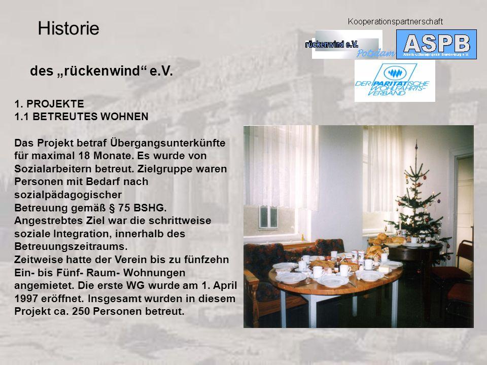 """Historie des """"rückenwind e.V. 1. PROJEKTE 1.1 BETREUTES WOHNEN"""