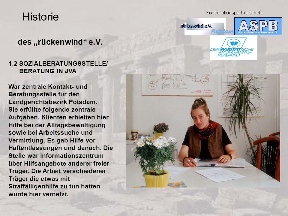 """Historie des """"rückenwind e.V. 1.2 SOZIALBERATUNGSSTELLE/"""
