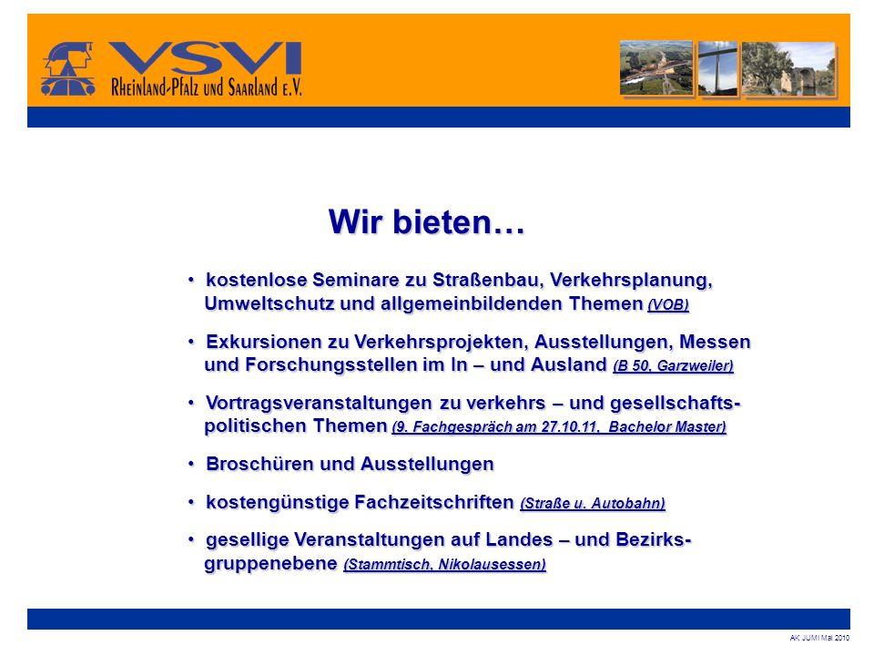 Wir bieten… kostenlose Seminare zu Straßenbau, Verkehrsplanung, Umweltschutz und allgemeinbildenden Themen (VOB)