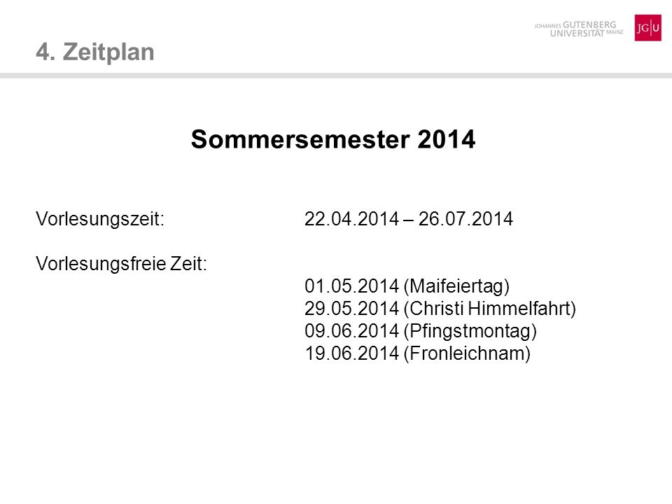 Sommersemester 2014 4. Zeitplan