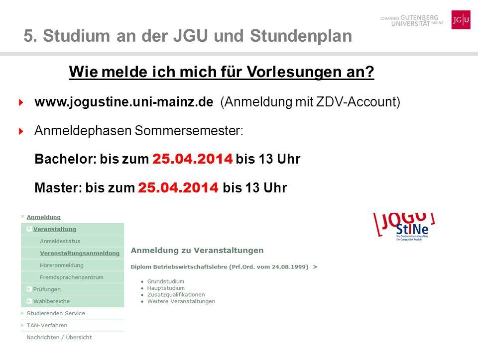 5. Studium an der JGU und Stundenplan