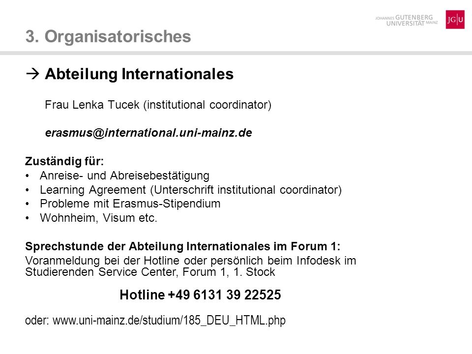 3. Organisatorisches  Abteilung Internationales