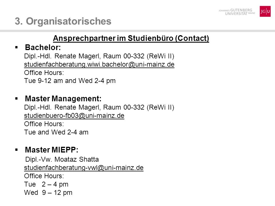 Ansprechpartner im Studienbüro (Contact)