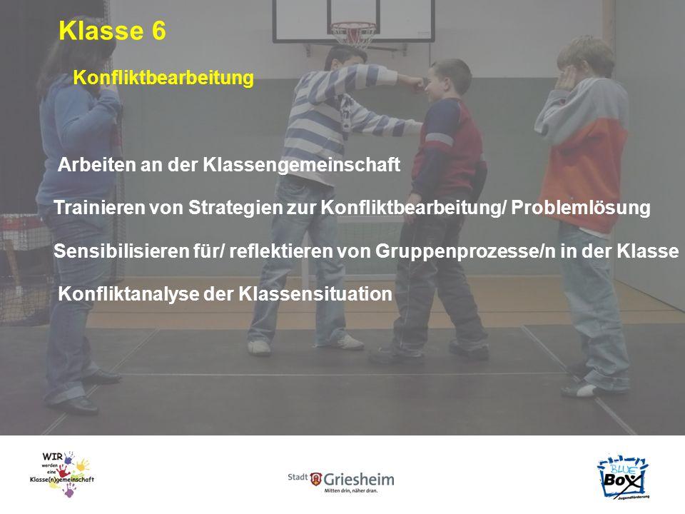 Klasse 6 Konfliktbearbeitung Arbeiten an der Klassengemeinschaft