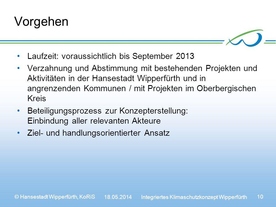 Vorgehen Laufzeit: voraussichtlich bis September 2013