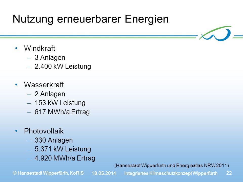 Nutzung erneuerbarer Energien