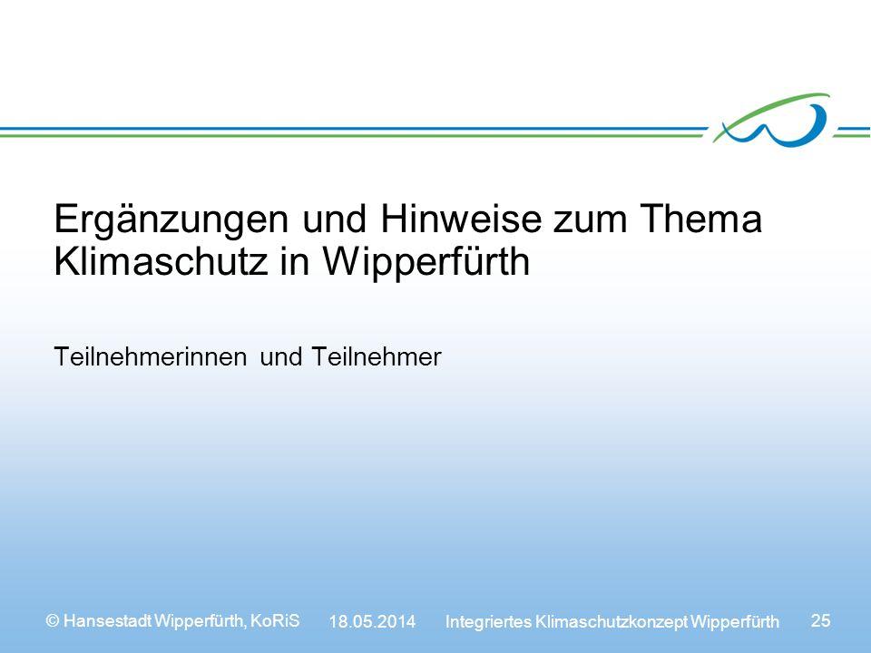 Ergänzungen und Hinweise zum Thema Klimaschutz in Wipperfürth