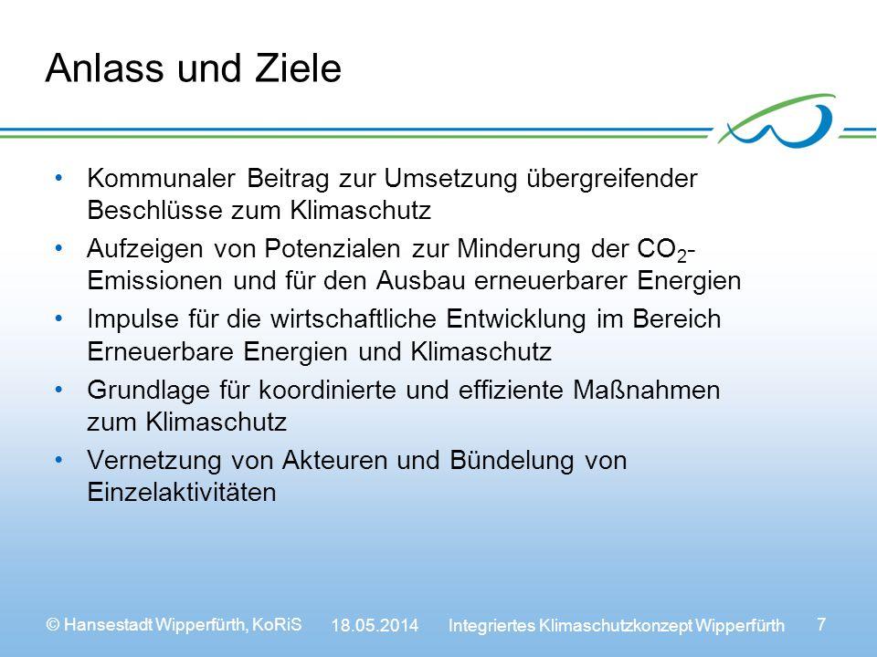 Anlass und Ziele Kommunaler Beitrag zur Umsetzung übergreifender Beschlüsse zum Klimaschutz.