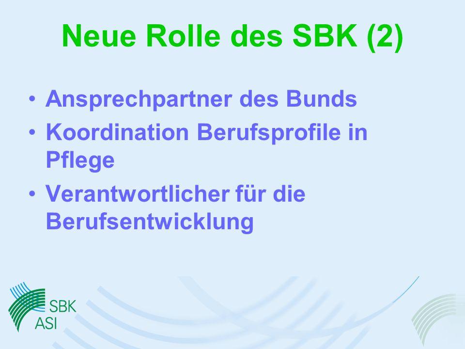 Neue Rolle des SBK (2) Ansprechpartner des Bunds
