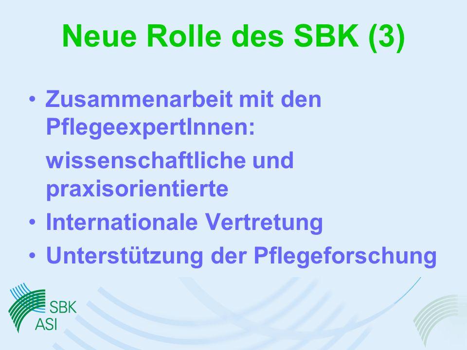 Neue Rolle des SBK (3) Zusammenarbeit mit den PflegeexpertInnen: