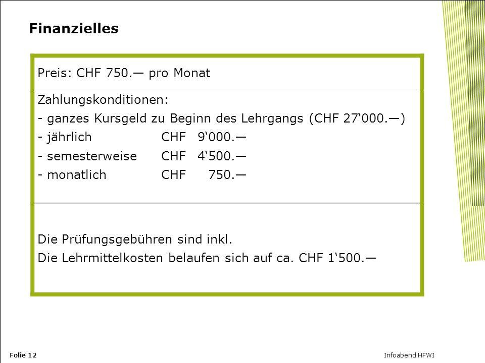 Finanzielles Zahlungskonditionen: Preis: CHF 750.— pro Monat