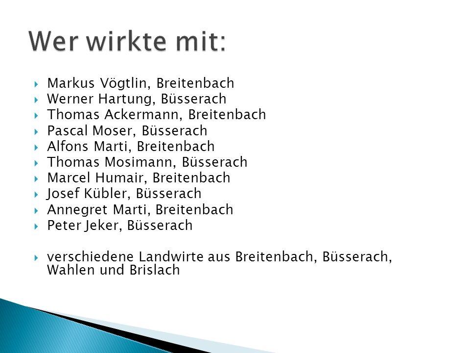 Wer wirkte mit: Markus Vögtlin, Breitenbach Werner Hartung, Büsserach