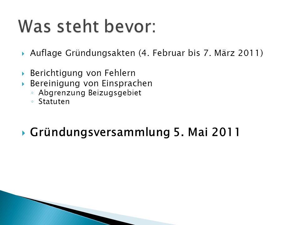 Was steht bevor: Gründungsversammlung 5. Mai 2011