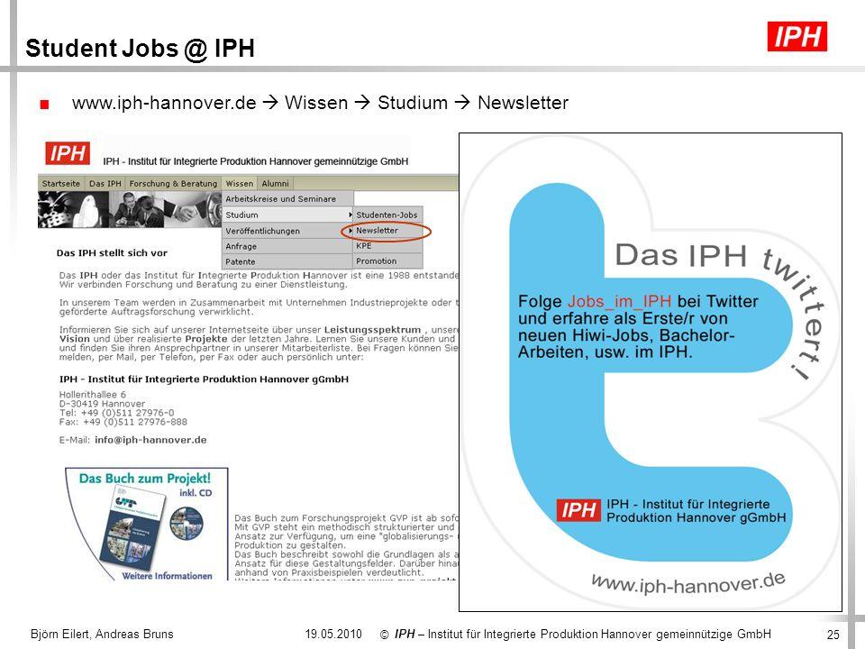 Student Jobs @ IPH www.iph-hannover.de  Wissen  Studium  Newsletter