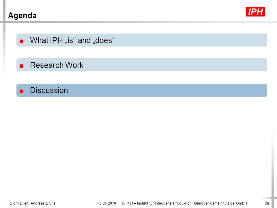 "What IPH ""is and ""does Research Work"
