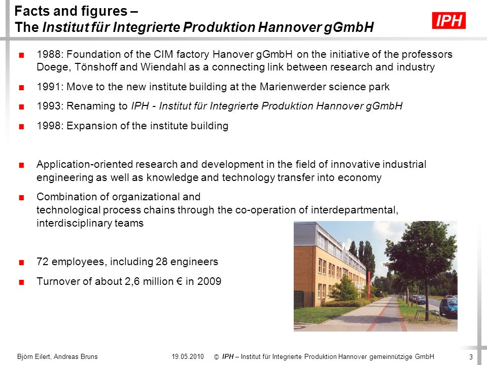 Facts and figures – The Institut für Integrierte Produktion Hannover gGmbH