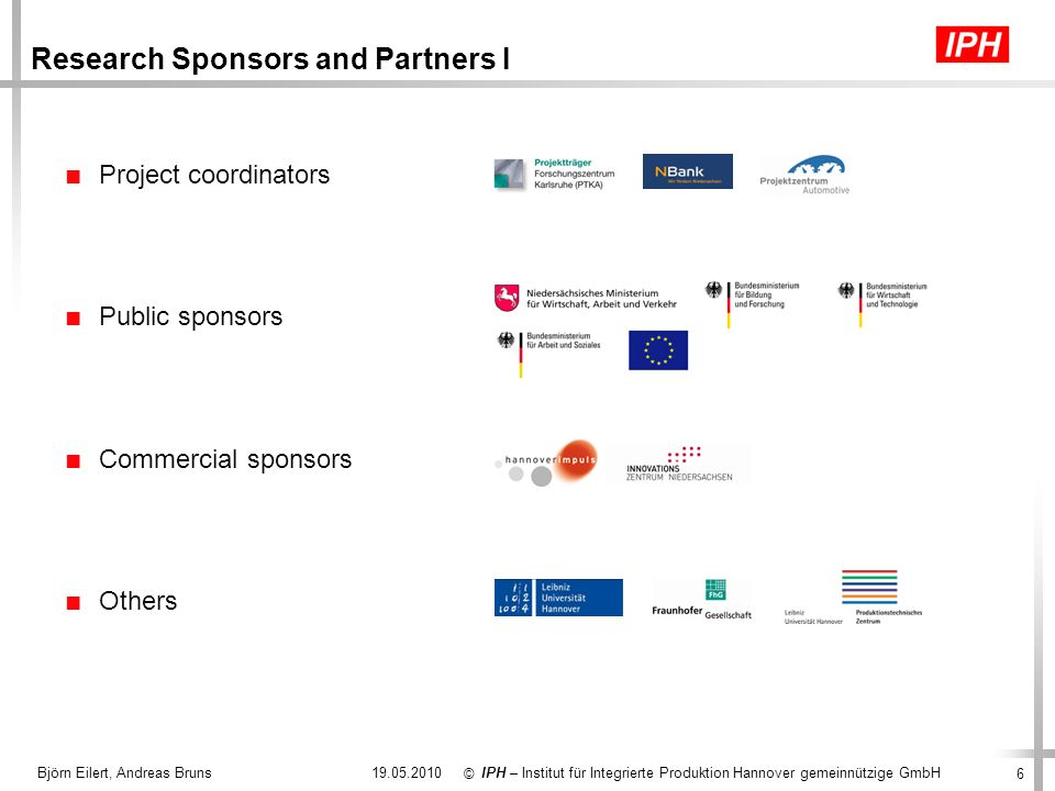 Research Sponsors and Partners I