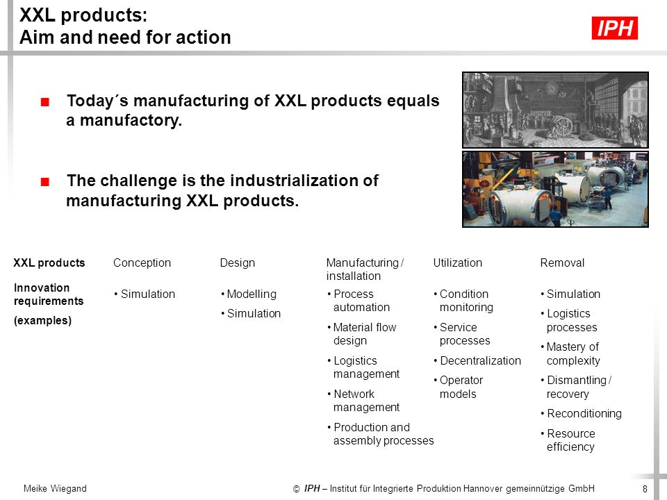 XXL products: Aim and need for action
