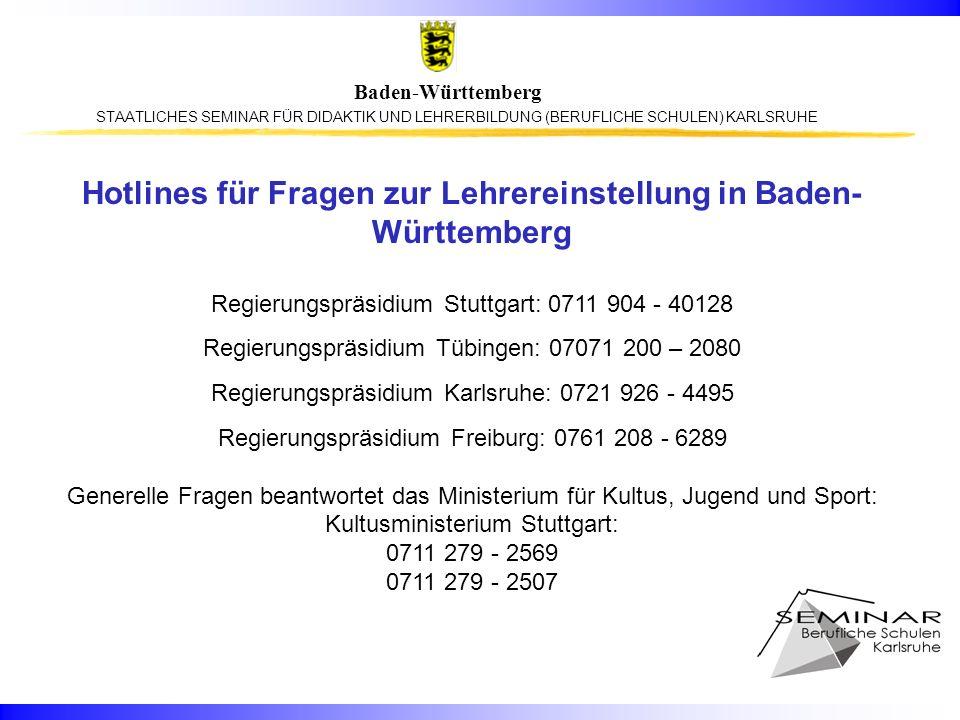 Hotlines für Fragen zur Lehrereinstellung in Baden-Württemberg