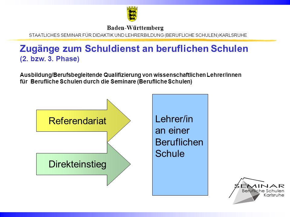 Zugänge zum Schuldienst an beruflichen Schulen (2. bzw. 3. Phase)
