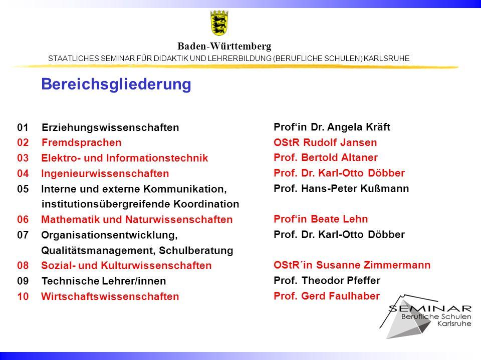 Bereichsgliederung 01 Erziehungswissenschaften 02 Fremdsprachen