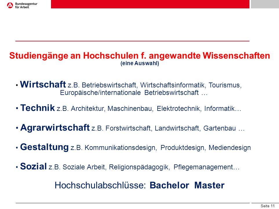 Studiengänge an Hochschulen f. angewandte Wissenschaften