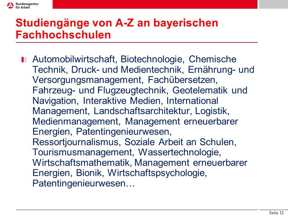 Studiengänge von A-Z an bayerischen Fachhochschulen
