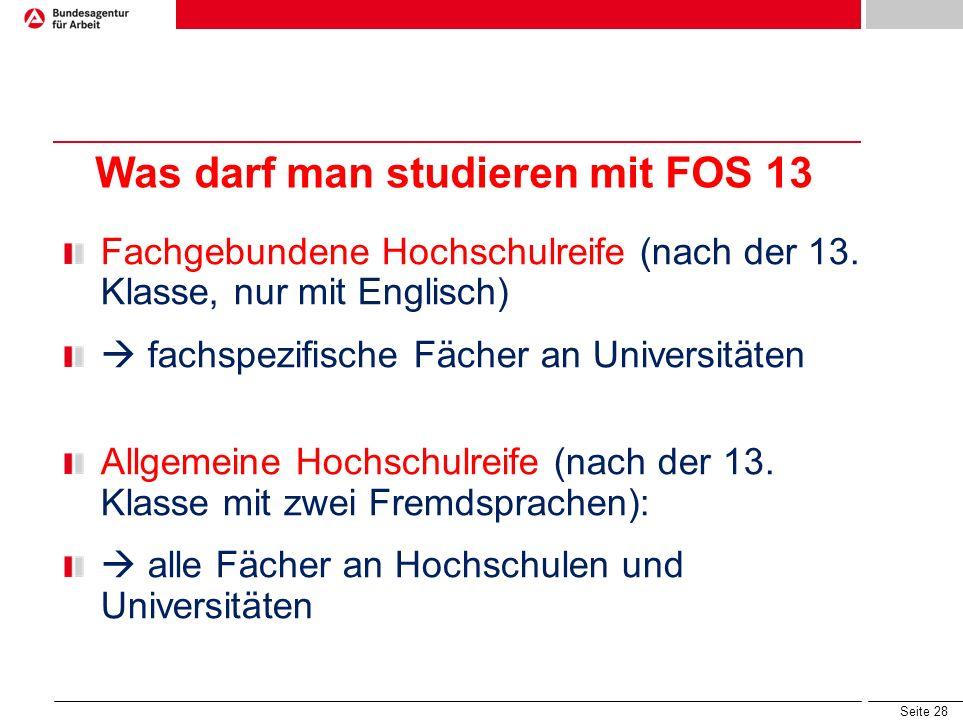 Was darf man studieren mit FOS 13